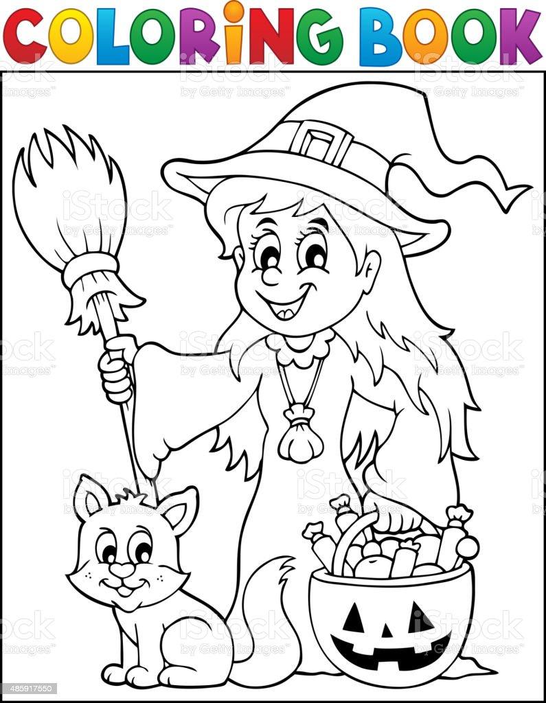 Libro Para Colorear Monada De Brujas Y Gato - Arte vectorial de ...