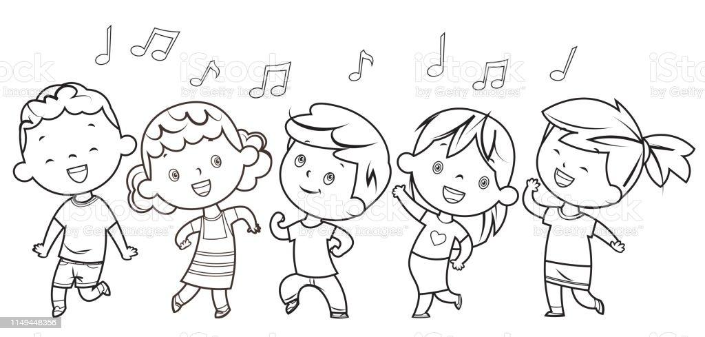 Ilustración De Libro Para Colorear Niños Bailando Y Más Vectores