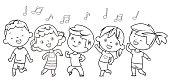 Vector coloring Book, Dancing children