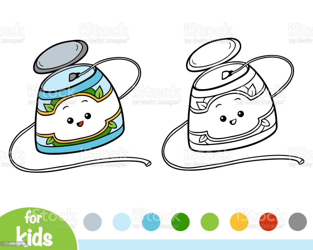 - Coloring Book Dental Floss Stock Illustration - Download Image Now - IStock