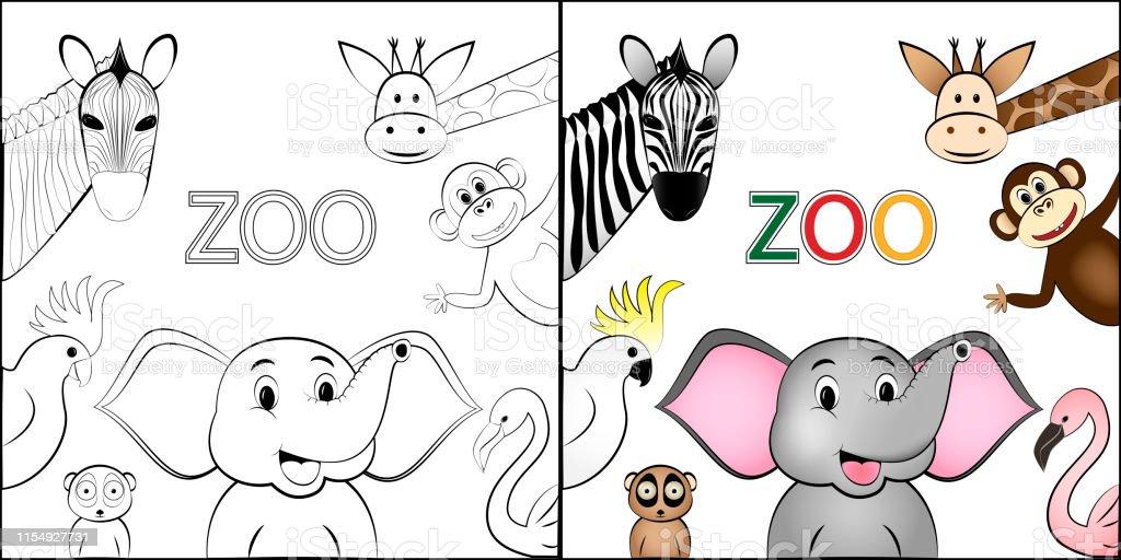 Ilustración De Libro Para Colorear Diferentes Animales