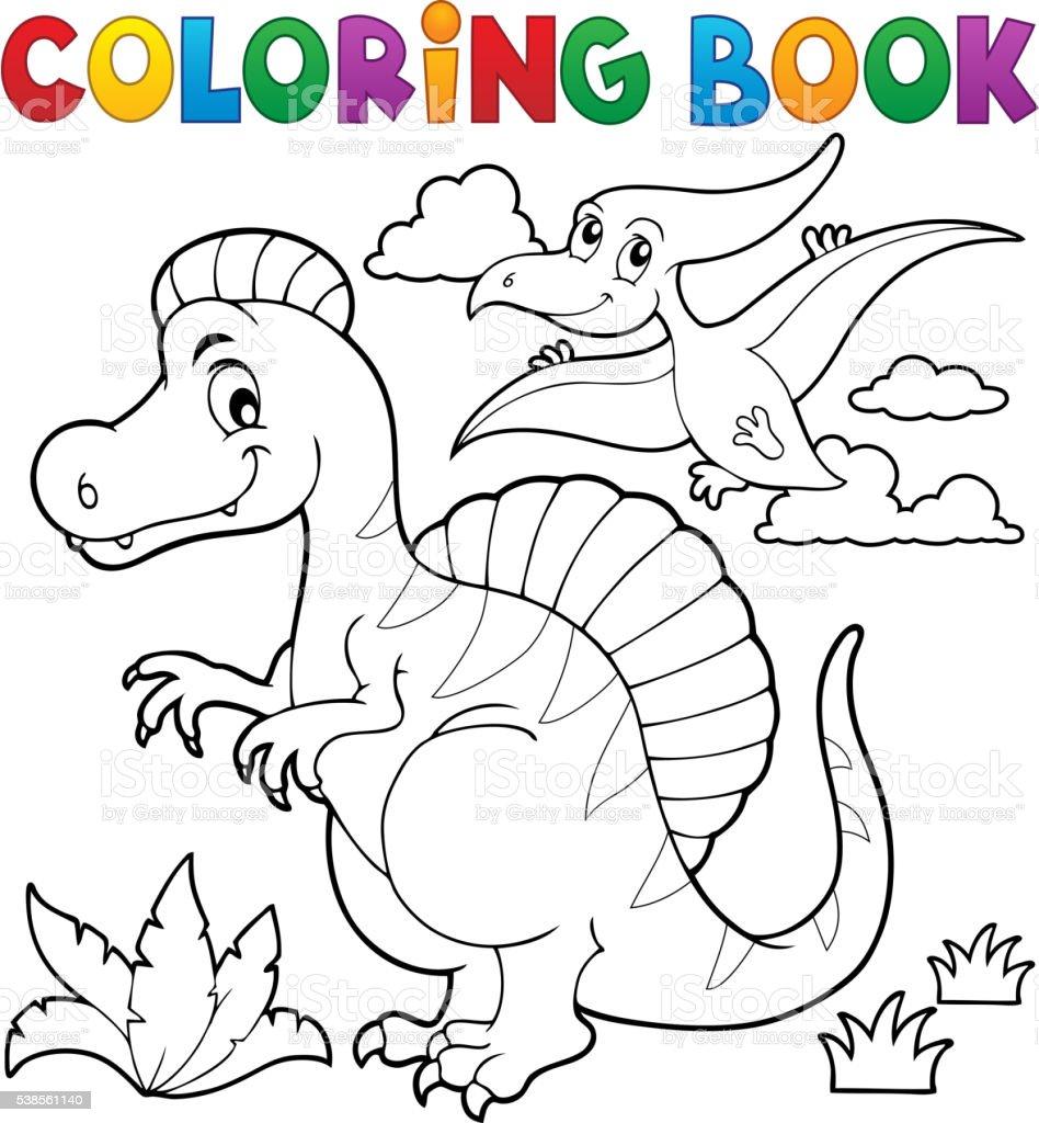 Dinosaurio Libro De Colorear Tema 2 - Arte vectorial de stock y más ...
