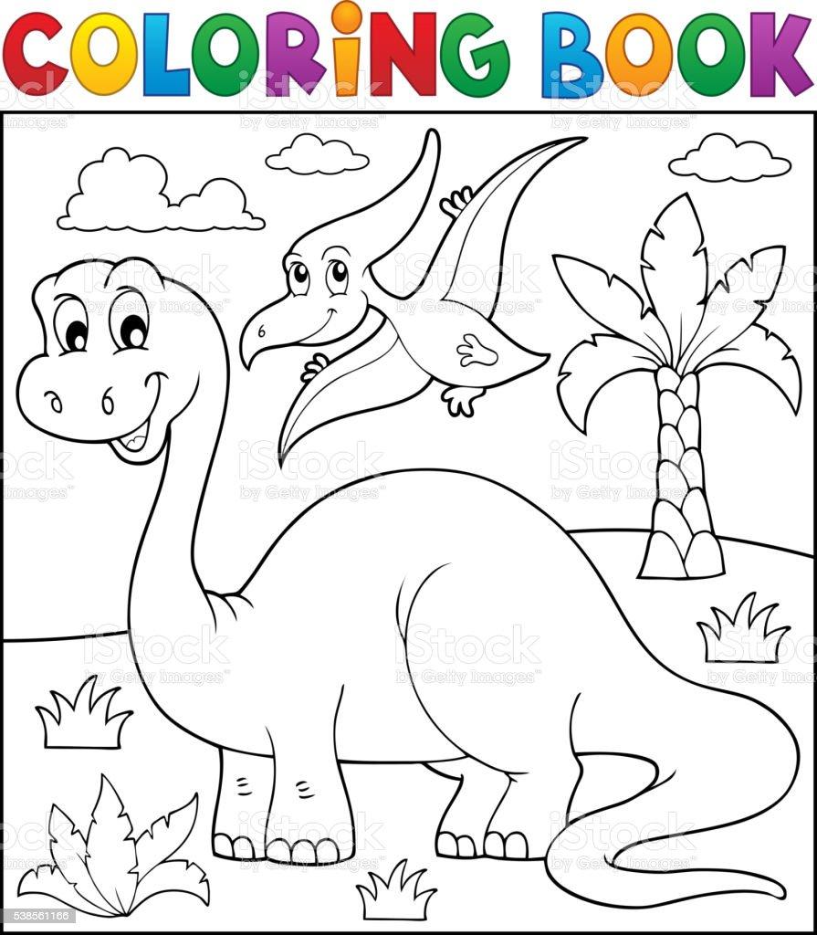 Ilustración de Dinosaurio Libro De Colorear Tema 3 y más banco de ...