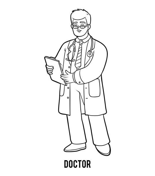 Vectores de Doctor Para Colorear y Illustraciones Libre de Derechos ...