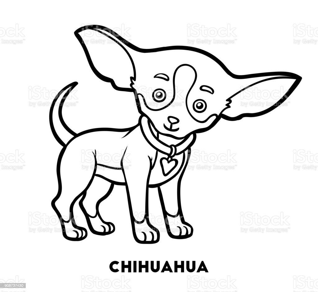 Boyama Kitabi Kopek Irklari Chihuahua Stok Vektor Sanati