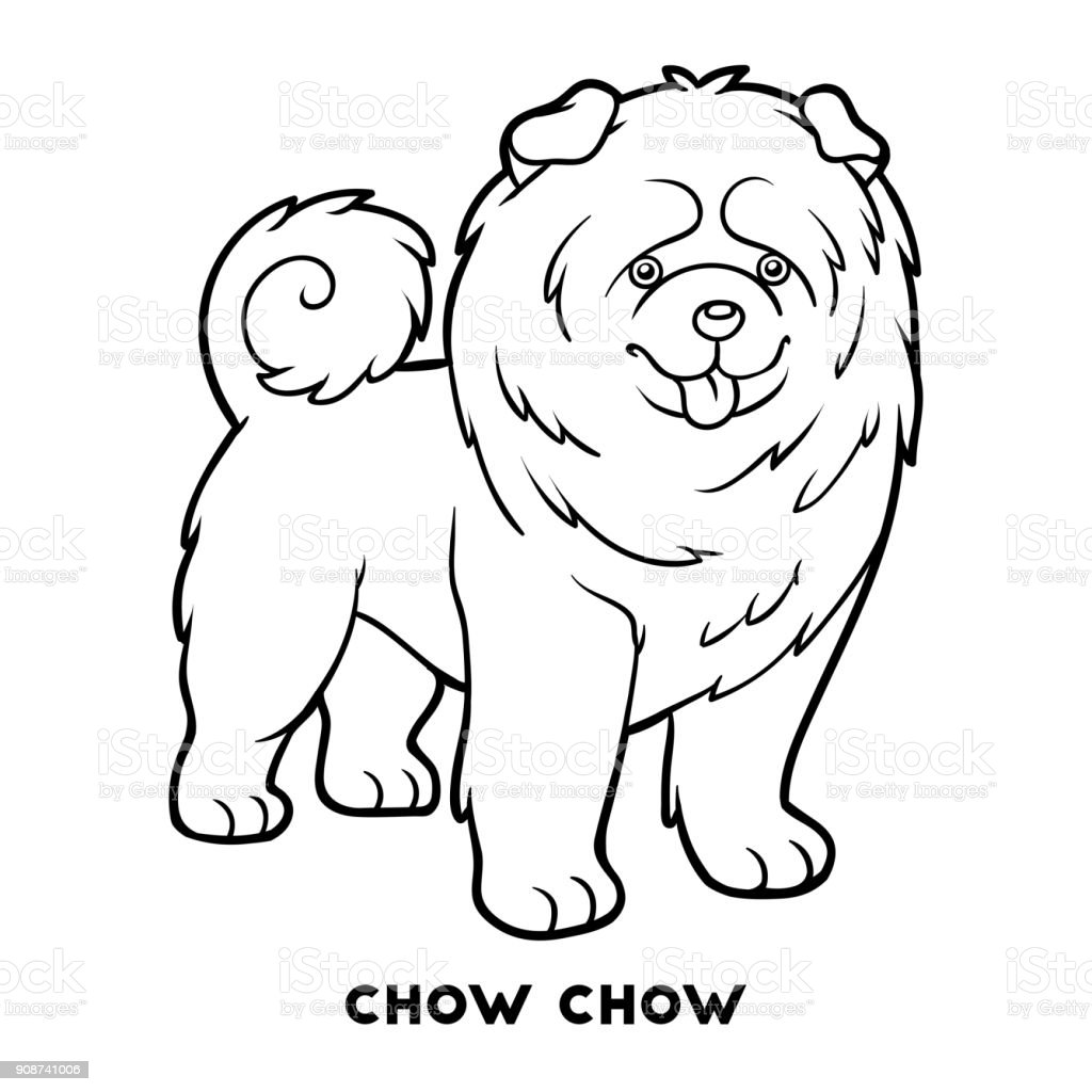 Coloring Book Dog Breeds Chow Chow Stock Vector Art & More Images of ...
