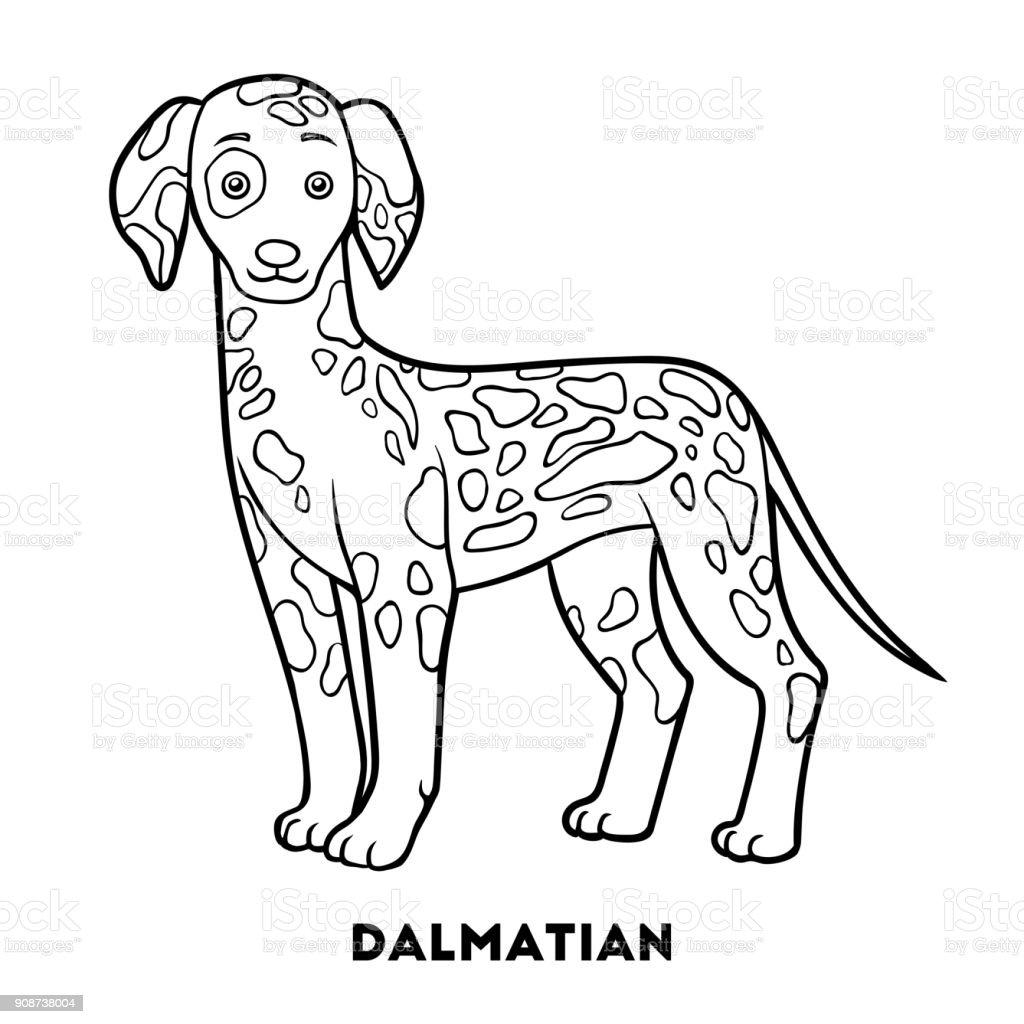 Coloriage De Chien De Compagnie.Livre De Coloriage Races De Chien Dalmatien Vecteurs Libres De
