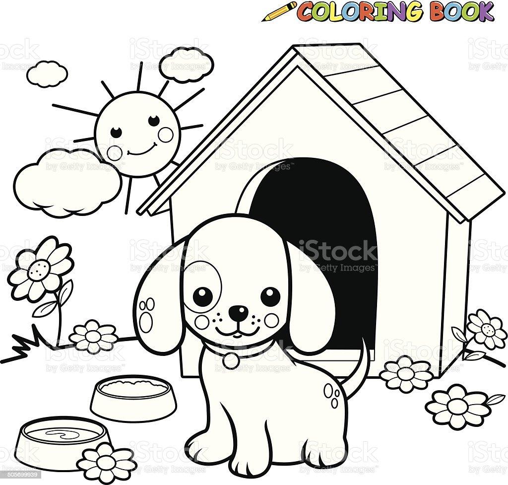 Coloring book dog outside doghouse vector art illustration