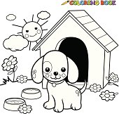 Black And White Cartoon Unicorn Coloring Book Dog Outside Doghouse