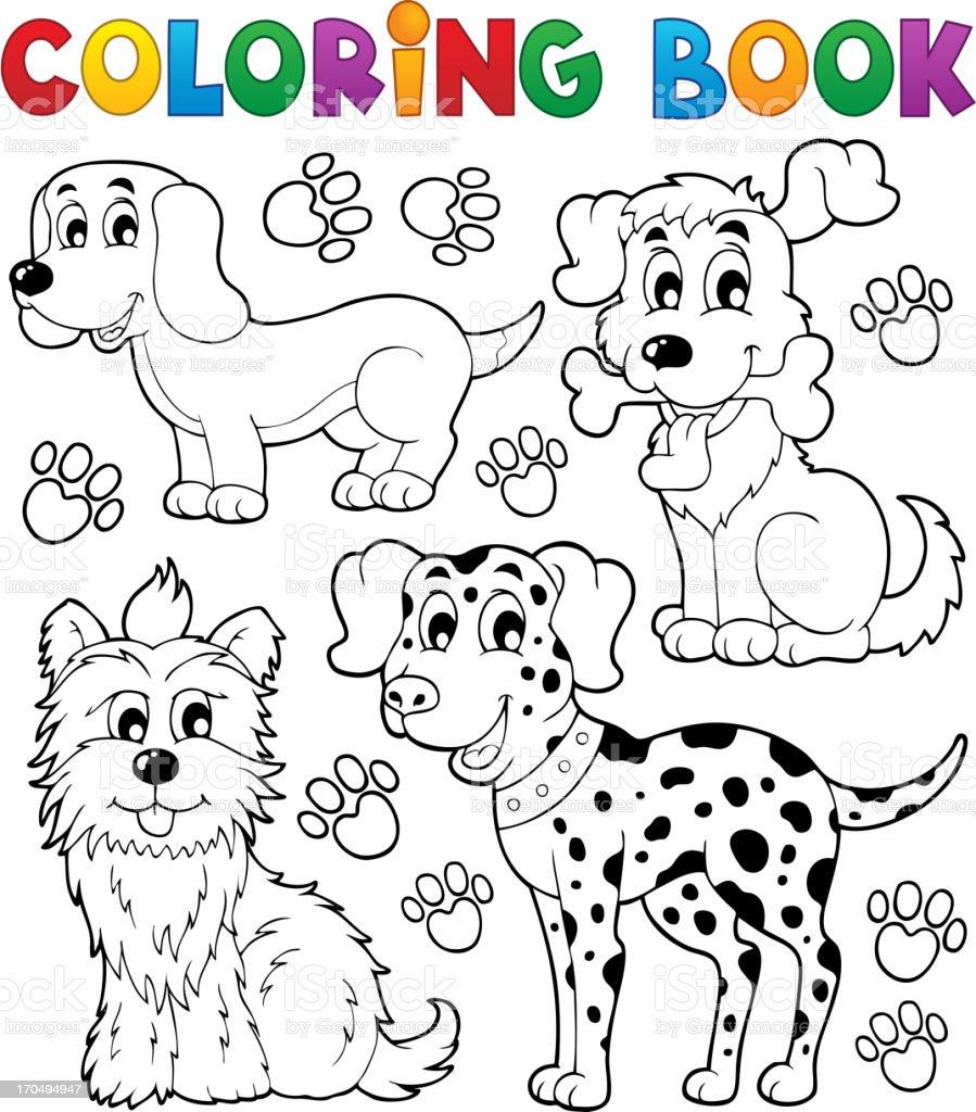 Coloring book dog theme 5 royalty-free stock vector art