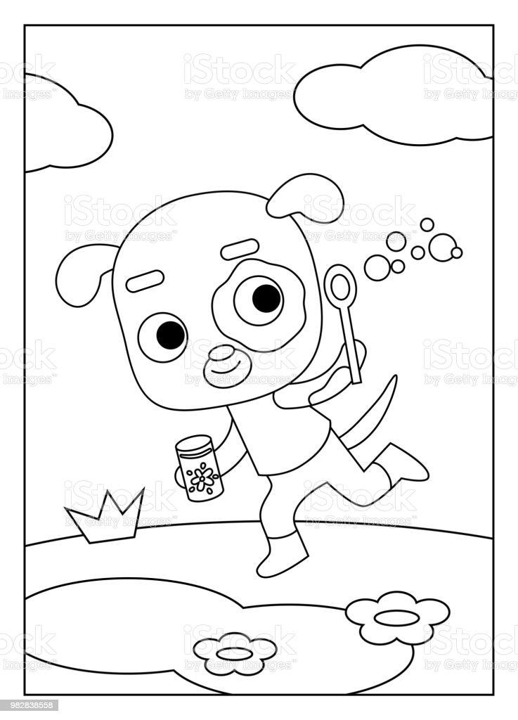 Ilustración de Libro Para Colorear Perro y más banco de imágenes de ...