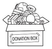 Vector Coloring Book, Donation box full of toys, books,