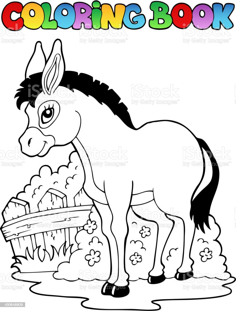 Coloring book donkey theme 1 royalty-free stock vector art