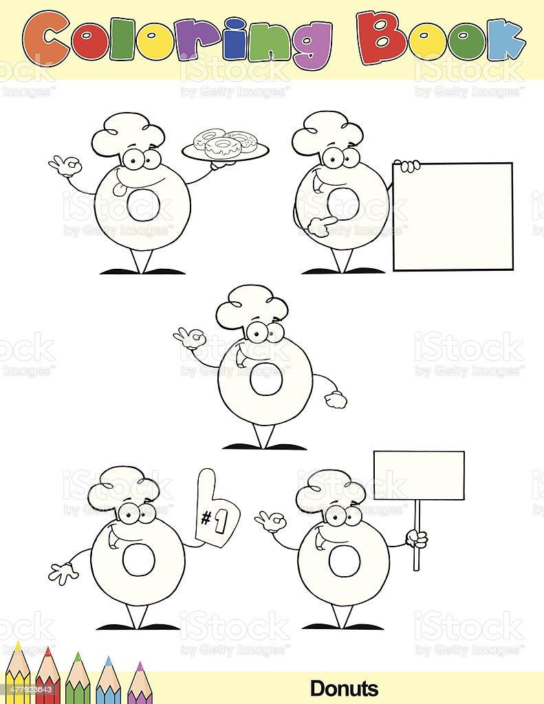 Coloring Book Donut Cartoon Characters royalty-free stock vector art