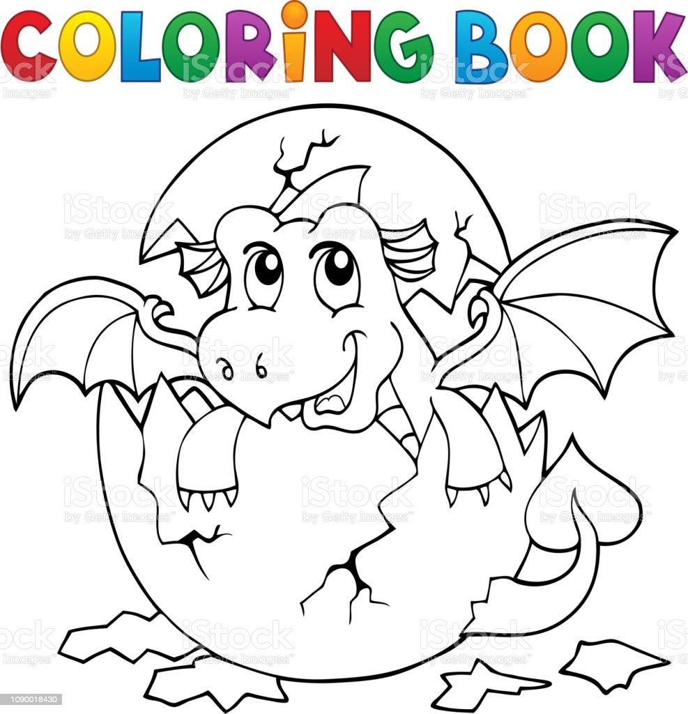 Coloriage Dragon Livre Leclosion De Loeuf 3 Vecteurs Libres De