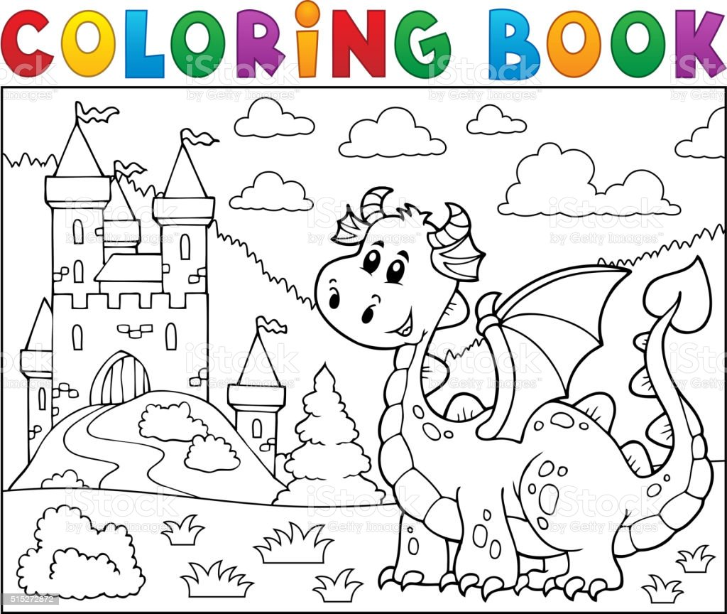 Ilustración de Libro Para Colorear Dragón Cerca De Tema Del Castillo ...