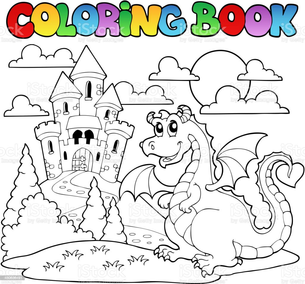 Libro Para Colorear Dragon Tema Imagen 1 - Arte vectorial de stock y ...