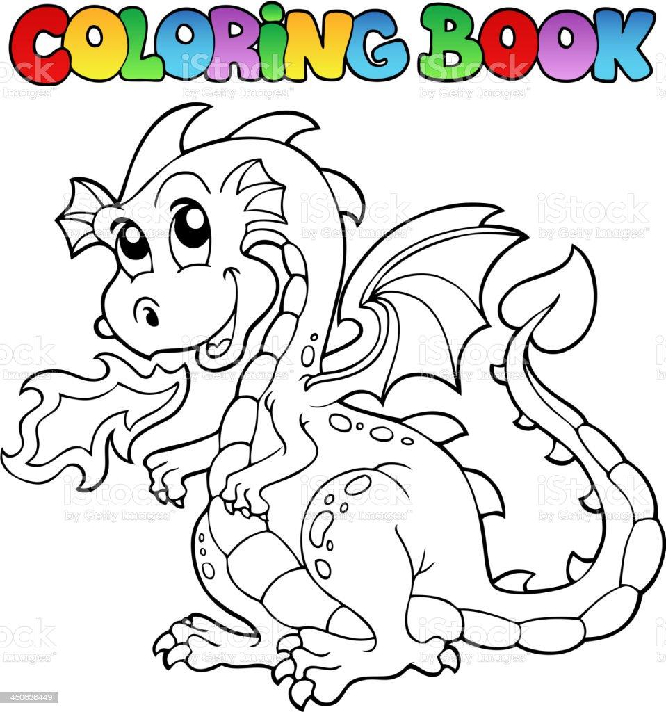livre de coloriage dragon thème image 2 vecteurs libres de