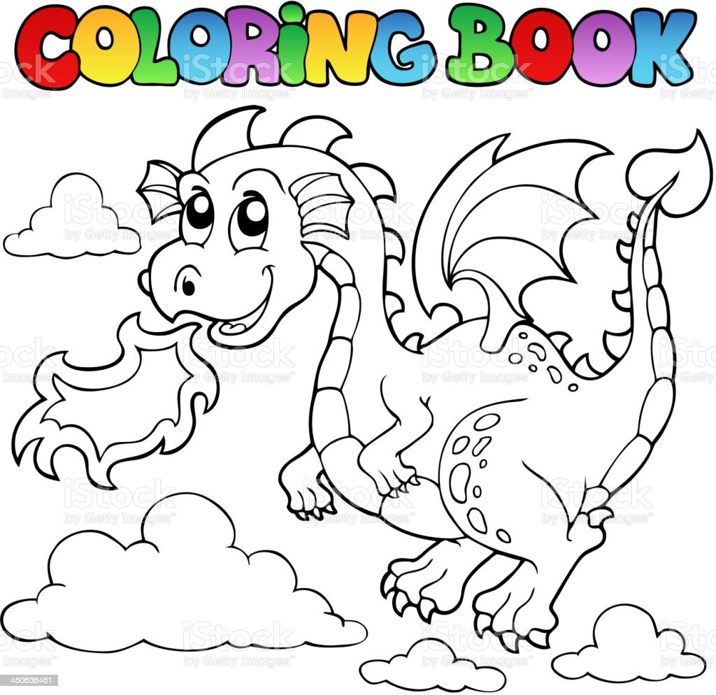 Libro Para Colorear Dragon Tema Imagen 3 - Arte vectorial de stock y ...