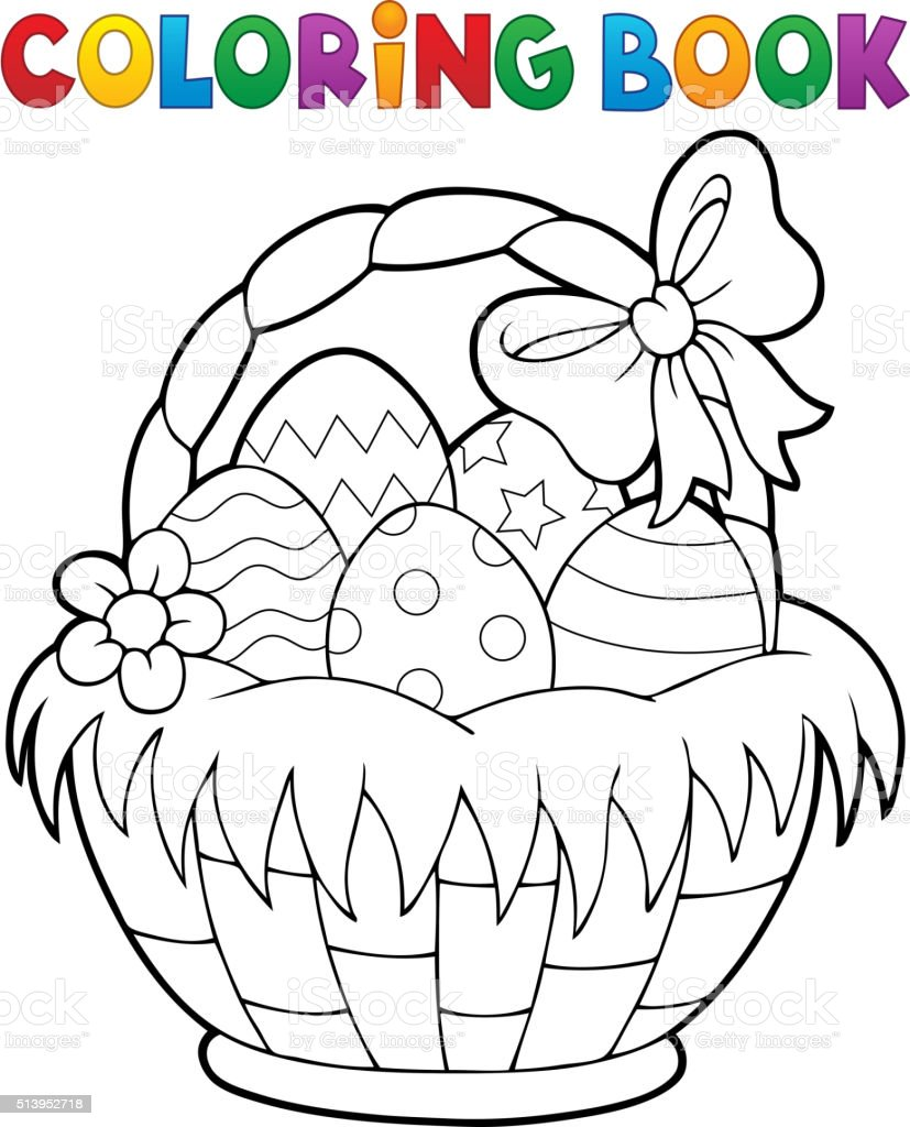 Coloring Book Easter Basket Theme 1 Stock Vector Art & More Images ...