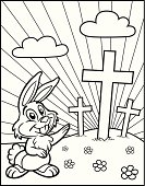 Coloring Book Easter Bunny With Crosses