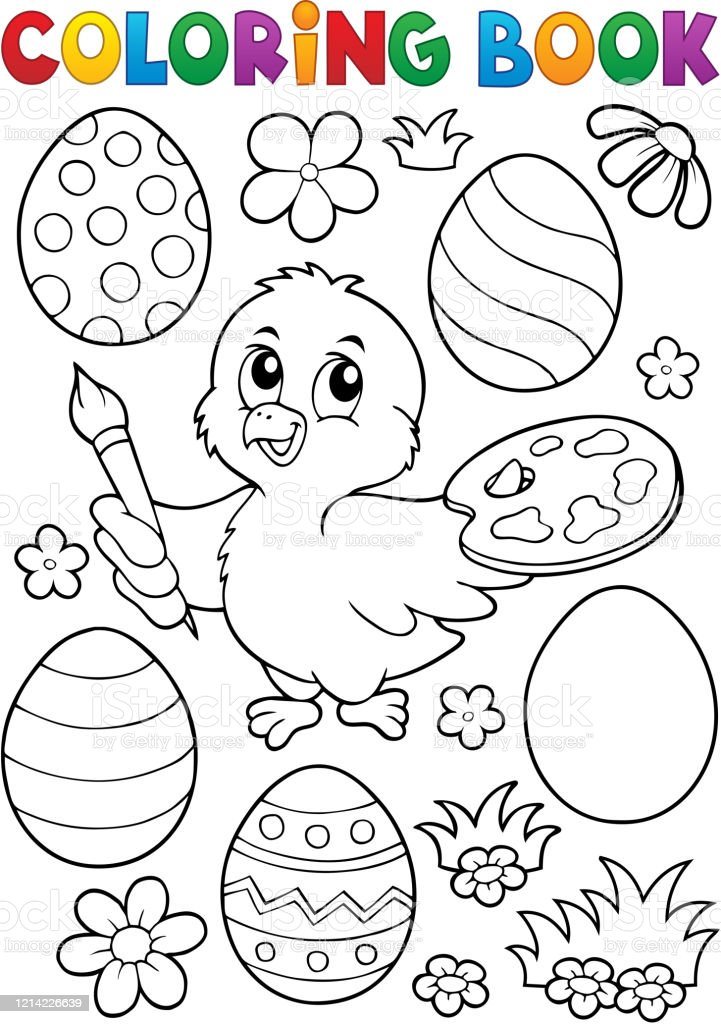 - Coloring Book Easter Eggs And Chicken 1 Stock Illustration - Download Image  Now - IStock