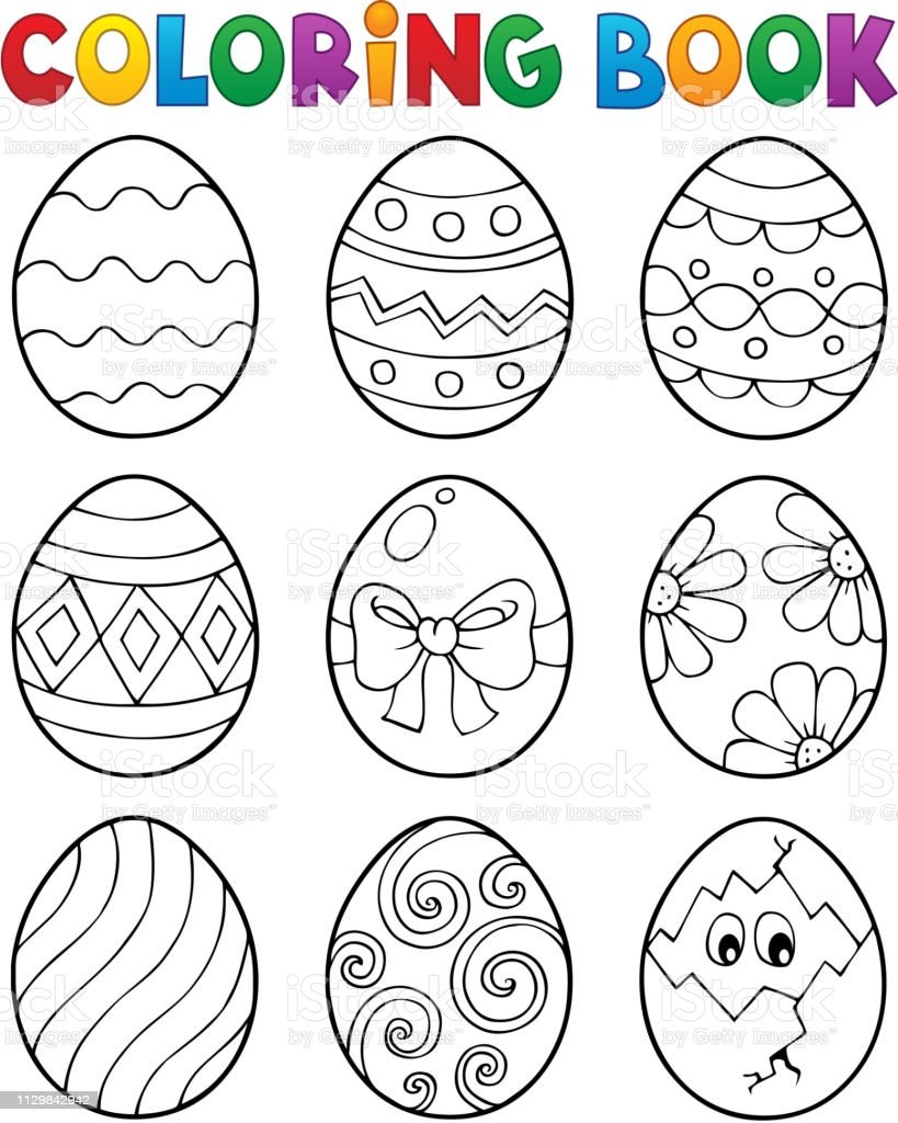 Coloring Book Easter Eggs Theme 3 Stock Illustration - Download Image Now -  IStock