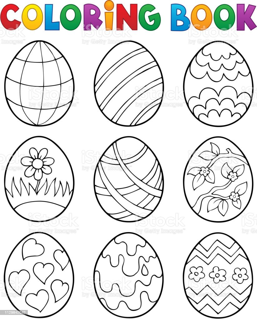 Coloring Book Easter Eggs Theme 4 Stock Illustration - Download