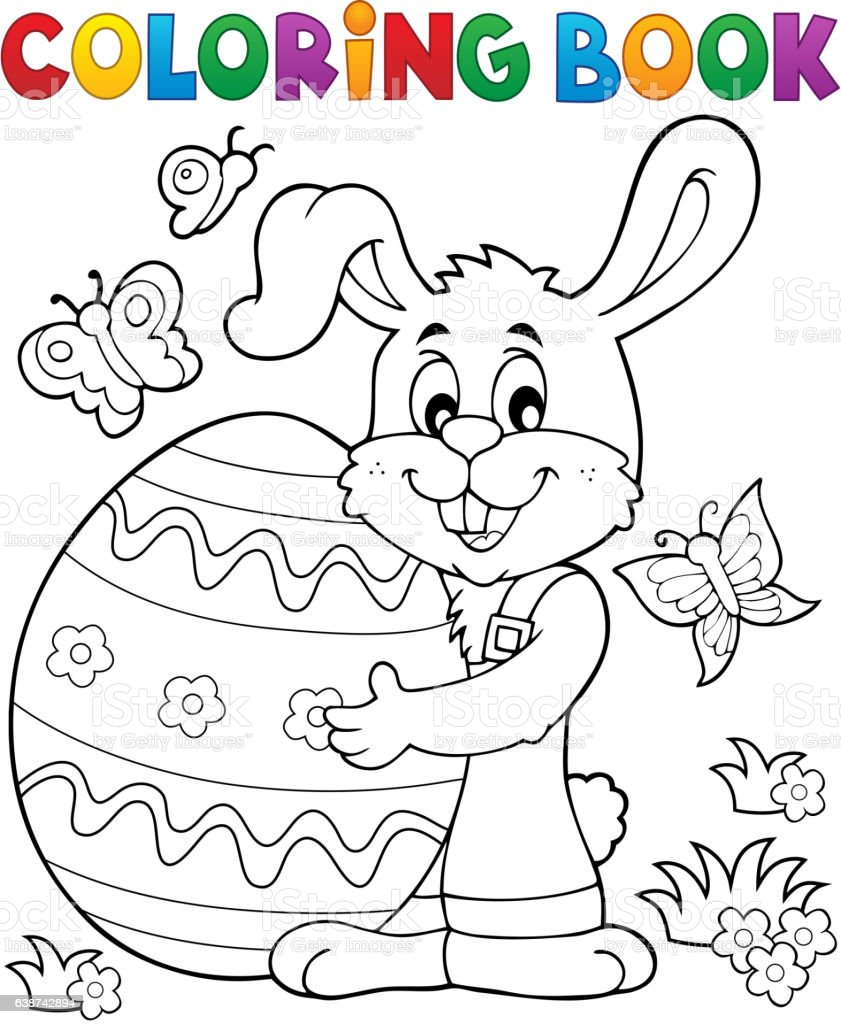 coloring book easter rabbit theme 8 royalty free stock vector art