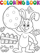 Coloring book Easter rabbit theme 9 - eps10 vector illustration.
