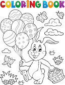 Coloring book Easter rabbit topic 2 - eps10 vector illustration.