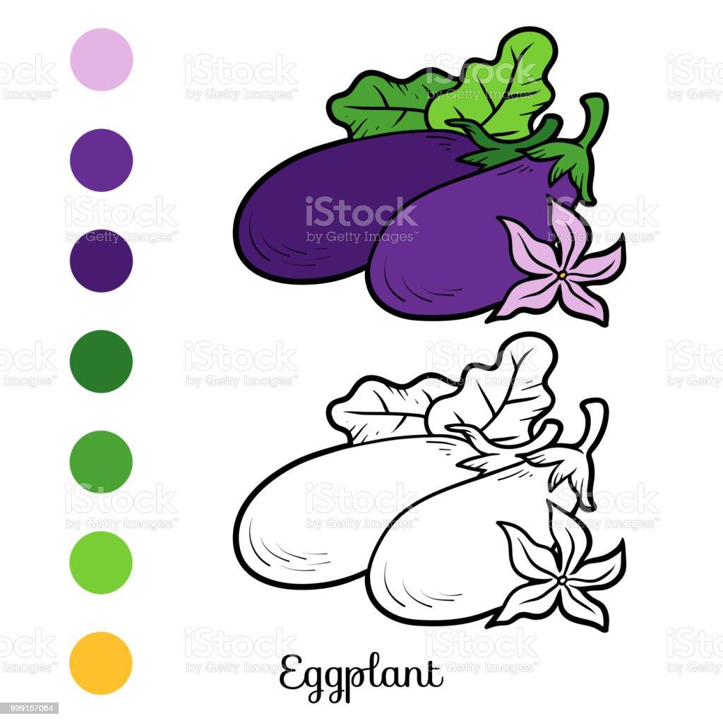 Boyama Kitabı Patlıcan Stok Vektör Sanatı Anaokulunin Daha Fazla