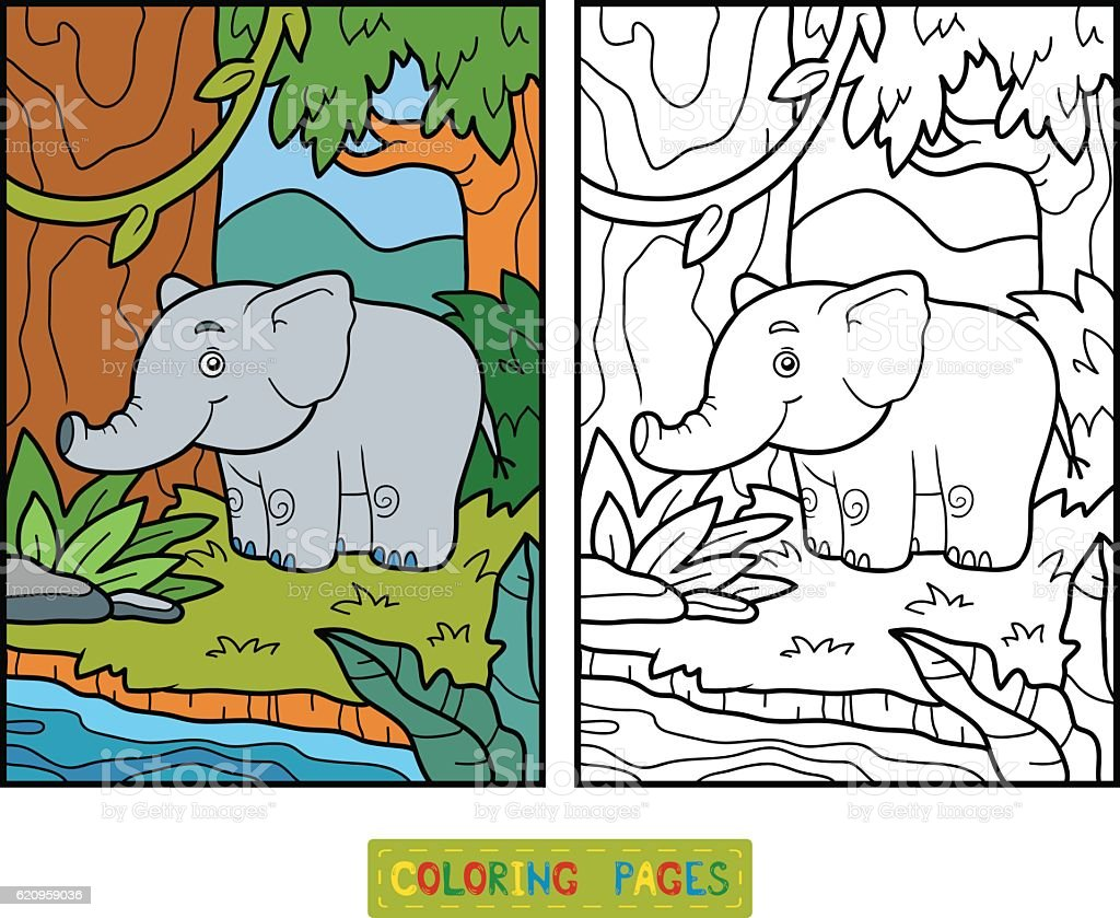 Coloring Book Elephant And Background Royalty Free Stock Vector Art
