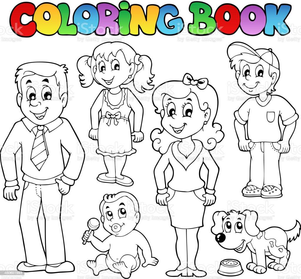 Ilustración De Libro Para Colorear Familia Colección 1 Y Más