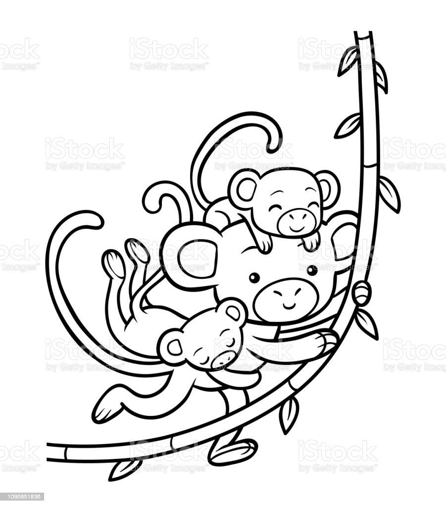 Ilustración De Libro Familia De Monos Para Colorear Y Más Vectores
