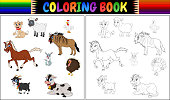 Coloring book farm animals collection