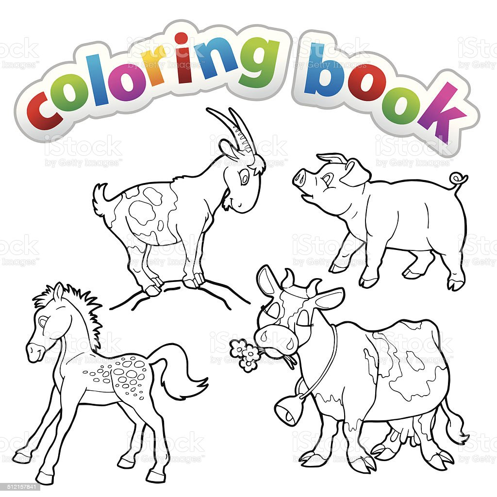 Coloring Book Farm Animals Stock Vector Art 512157841