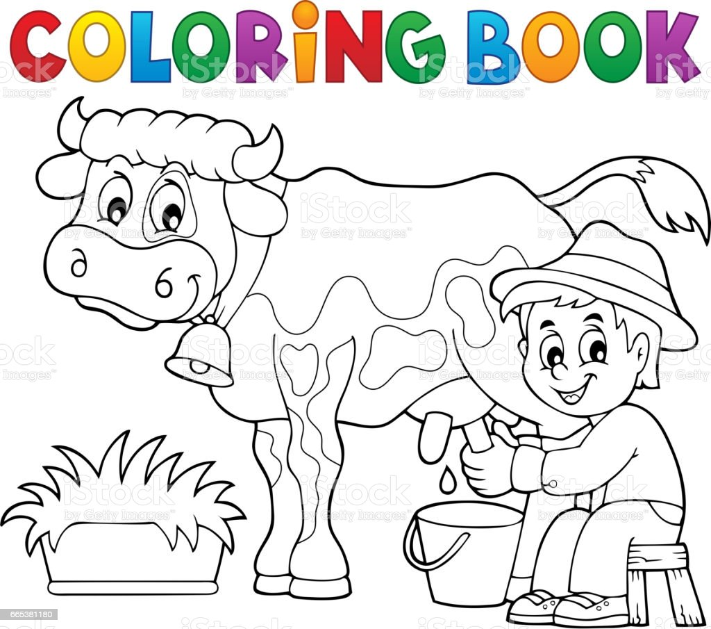 Inek Sağım Boyama Kitabı çiftçi Stok Vektör Sanatı Bir Kişinin