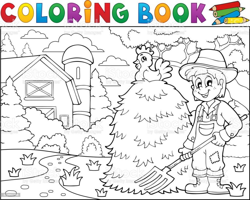 Coloriage Batiment Ferme.Livre De Coloriage Agriculteur Pres De Ferme 1 Vecteurs Libres De