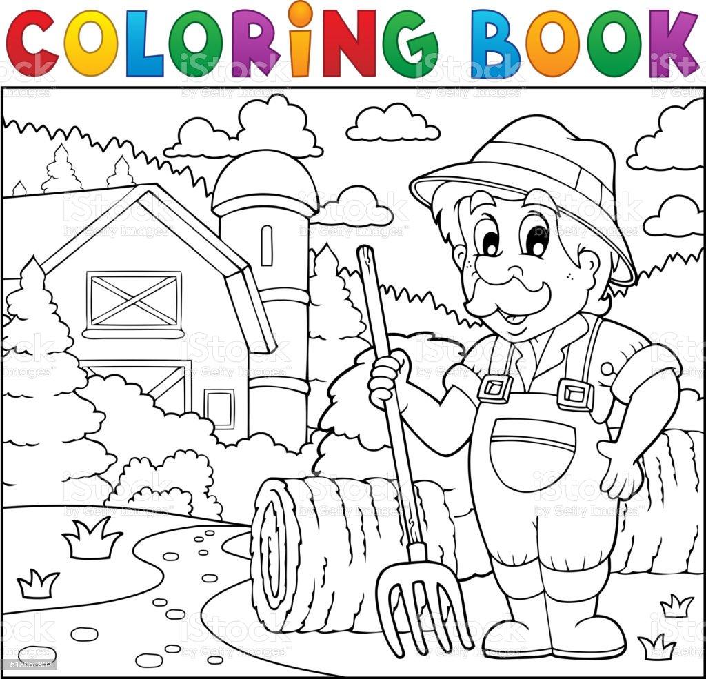 Coloriage Batiment Ferme.Livre De Coloriage Agriculteur Pres De Ferme 2 Vecteurs Libres De