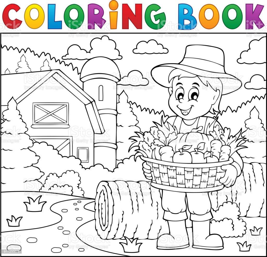 Ilustración de Libro Para Colorear Con Granja Cosecha 2 y más banco ...