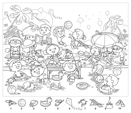 Coloring book, Find 10 objects in the picture. Puzzle Hidden Items. Happy kids having fun on the beach