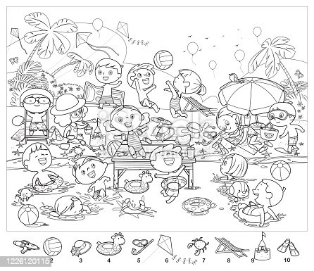 Vector Coloring book, Find 10 objects in the picture. Puzzle Hidden Items. Happy kids having fun on the beach
