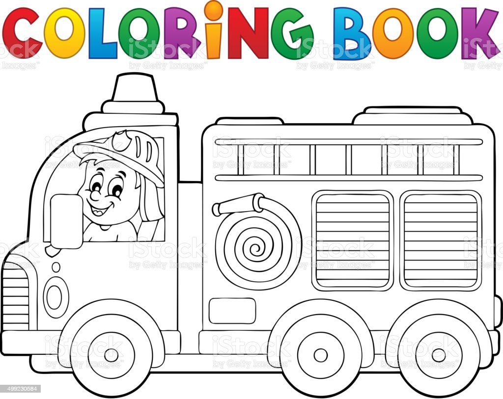 Libro Para Colorear Camión De Bomberos Tema 2 - Arte vectorial de ...