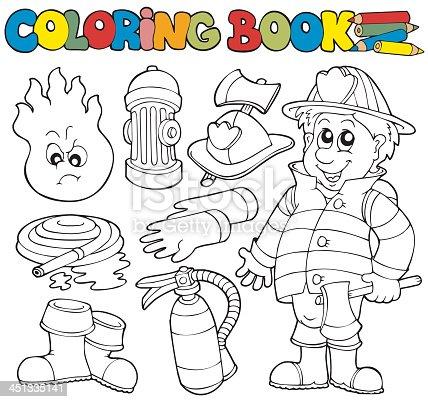 Ilustración de Libro Para Colorear Colección Bombero y más banco de ...