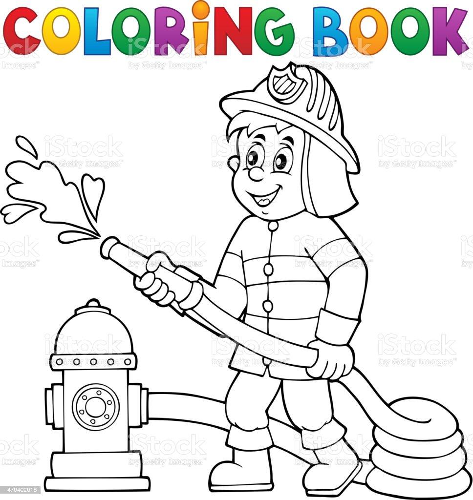 Ilustración de Libro Para Colorear Bombero Tema 1 y más banco de ...