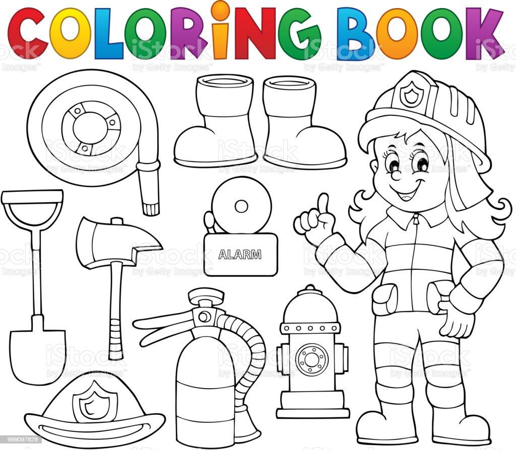 Kitap Itfaiyeci Tema Boyama 1 Ayarla Stok Vektor Sanati Aciliyet