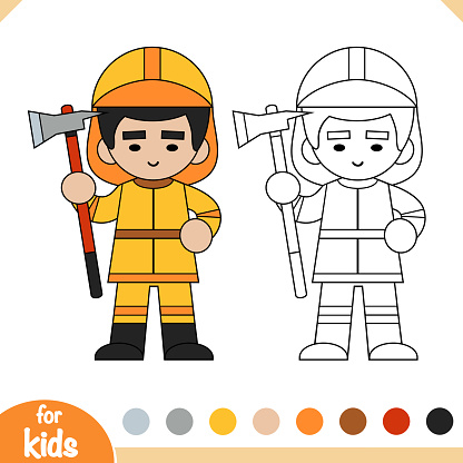 Coloring book, Firefighter with an ax