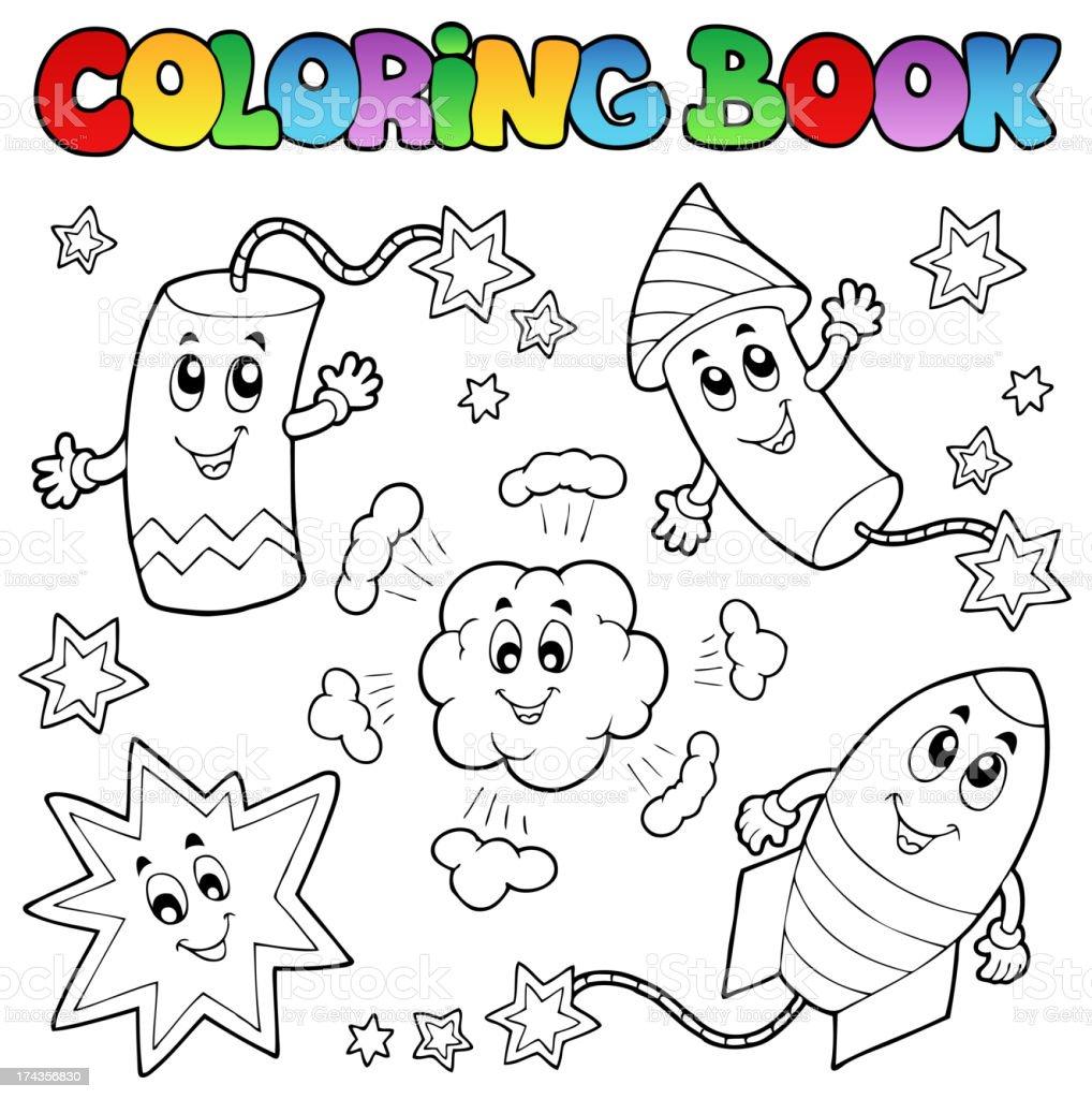 Libro Para Colorear Fuegos Artificiales Tema 1 - Arte vectorial de ...