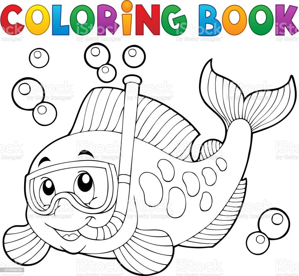 Livre De Coloriage Du Poisson De La Plongee Avec Masque Et Tuba A